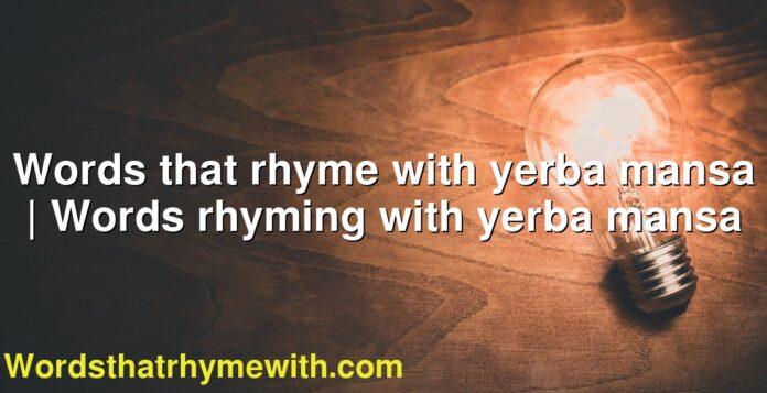 Words that rhyme with yerba mansa | Words rhyming with yerba mansa