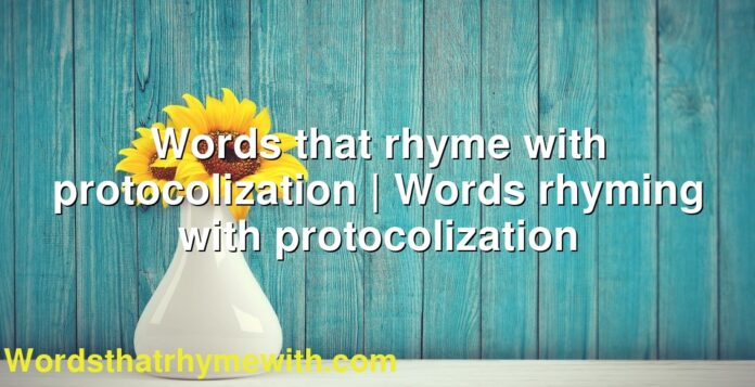 Words that rhyme with protocolization | Words rhyming with protocolization