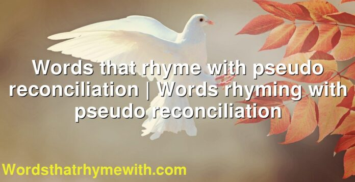 Words that rhyme with pseudo reconciliation | Words rhyming with pseudo reconciliation