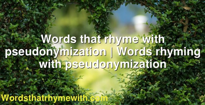Words that rhyme with pseudonymization | Words rhyming with pseudonymization