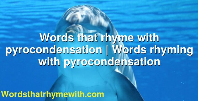 Words that rhyme with pyrocondensation | Words rhyming with pyrocondensation