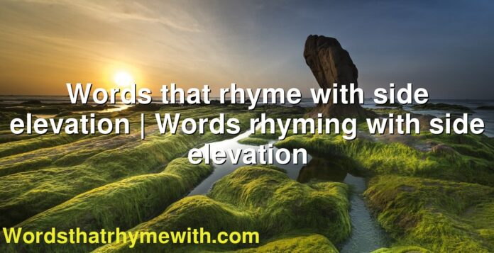 Words that rhyme with side elevation | Words rhyming with side elevation