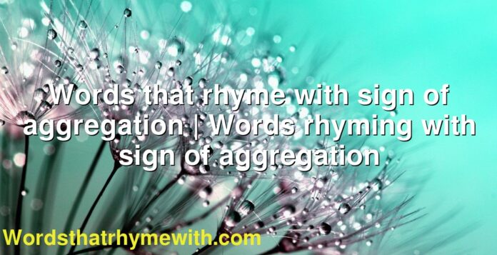 Words that rhyme with sign of aggregation | Words rhyming with sign of aggregation