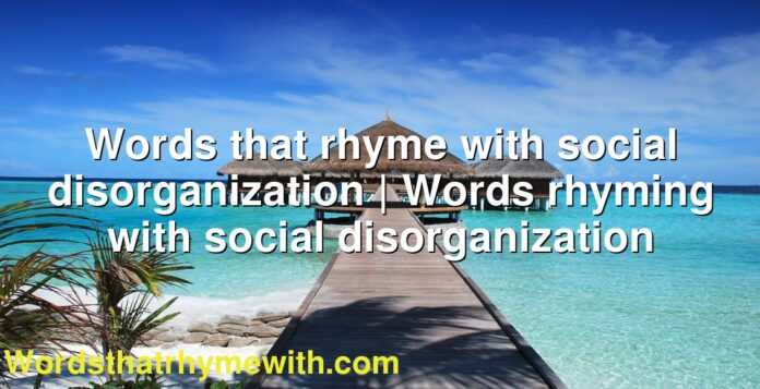 Words that rhyme with social disorganization | Words rhyming with social disorganization