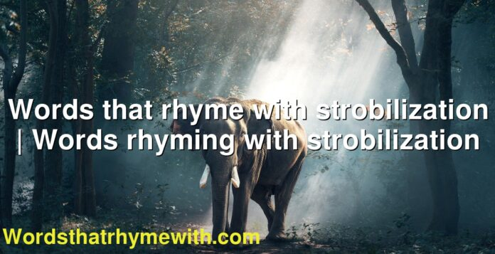 Words that rhyme with strobilization | Words rhyming with strobilization