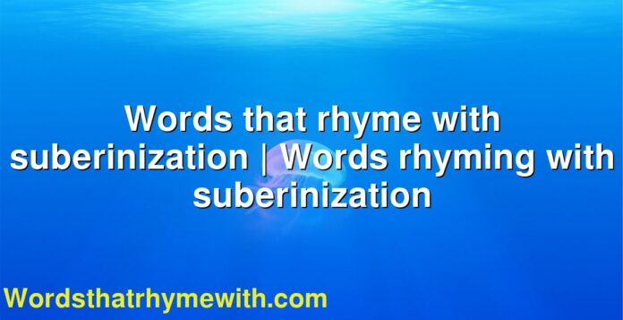 Words that rhyme with suberinization | Words rhyming with suberinization