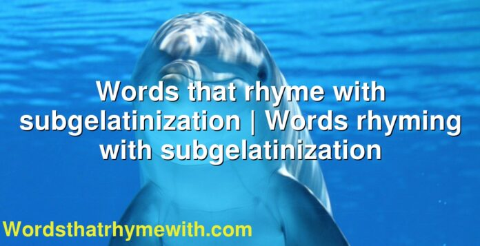 Words that rhyme with subgelatinization | Words rhyming with subgelatinization