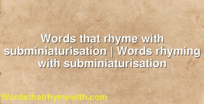 Words that rhyme with subminiaturisation | Words rhyming with subminiaturisation