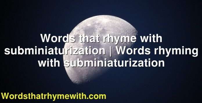 Words that rhyme with subminiaturization | Words rhyming with subminiaturization