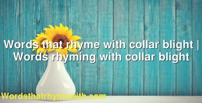 Words that rhyme with collar blight | Words rhyming with collar blight