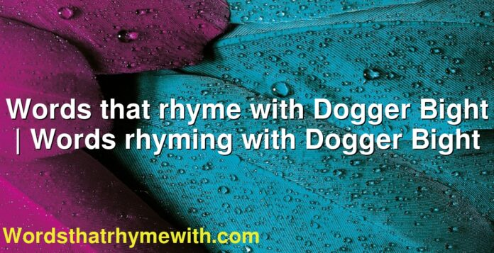 Words that rhyme with Dogger Bight | Words rhyming with Dogger Bight