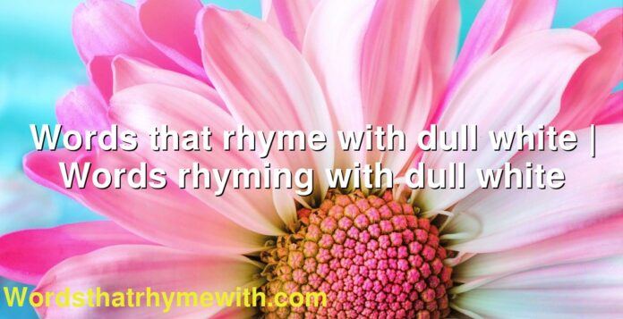 Words that rhyme with dull white | Words rhyming with dull white