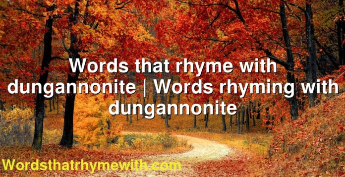 Words that rhyme with dungannonite | Words rhyming with dungannonite