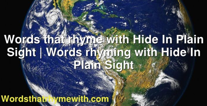 Words that rhyme with Hide In Plain Sight | Words rhyming with Hide In Plain Sight