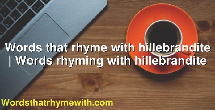 Words that rhyme with hillebrandite | Words rhyming with hillebrandite
