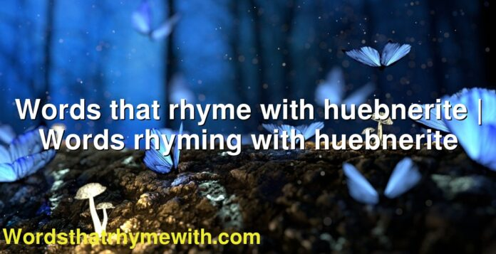 Words that rhyme with huebnerite | Words rhyming with huebnerite