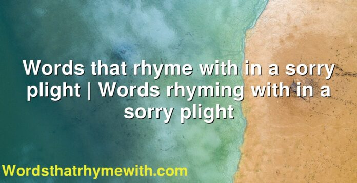 Words that rhyme with in a sorry plight | Words rhyming with in a sorry plight