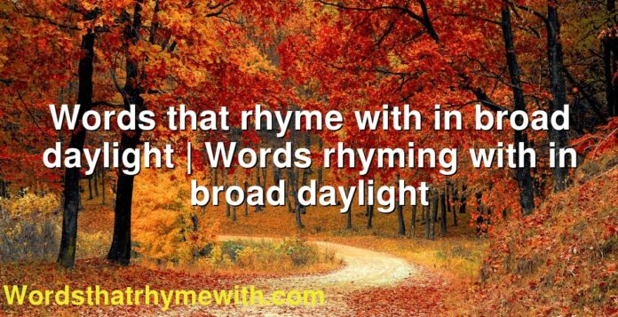 Words that rhyme with in broad daylight | Words rhyming with in broad daylight