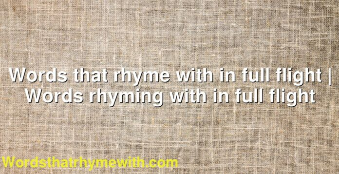 Words that rhyme with in full flight | Words rhyming with in full flight