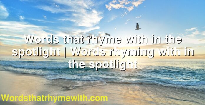 Words that rhyme with in the spotlight | Words rhyming with in the spotlight