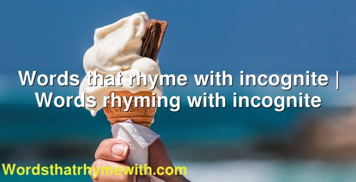 Words that rhyme with incognite | Words rhyming with incognite
