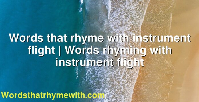 Words that rhyme with instrument flight | Words rhyming with instrument flight