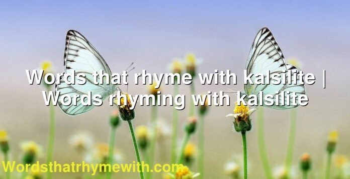 Words that rhyme with kalsilite | Words rhyming with kalsilite