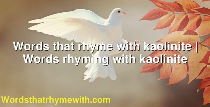 Words that rhyme with kaolinite | Words rhyming with kaolinite