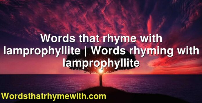 Words that rhyme with lamprophyllite | Words rhyming with lamprophyllite