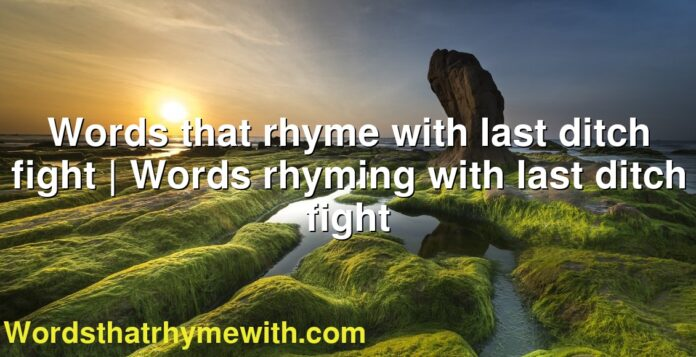 Words that rhyme with last ditch fight | Words rhyming with last ditch fight