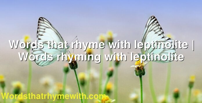Words that rhyme with leptinolite | Words rhyming with leptinolite