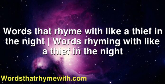 Words that rhyme with like a thief in the night | Words rhyming with like a thief in the night