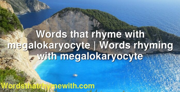 Words that rhyme with megalokaryocyte | Words rhyming with megalokaryocyte